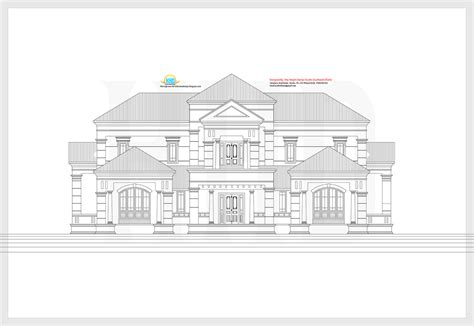 kerala home design 2d elevation and plan of 4bhk slanting roof house 3476 sq