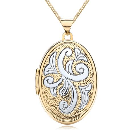 White Gold Photos by Large Oval 4 Photo Locket 9ct Yellow White Gold