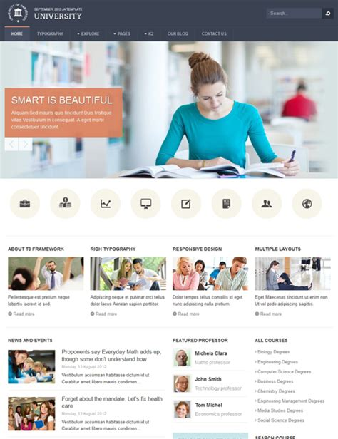 ja university responsive joomla template for schools