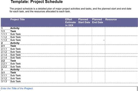 project management schedule template schedule template free premium templates