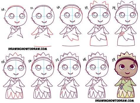 How To Draw Cute Baby Chibi Kawaii Tiana The Disney How To Draw A Disney Princess Step By Step Free Coloring Sheets