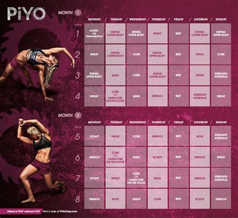 piyo workout calendar healthy and fit