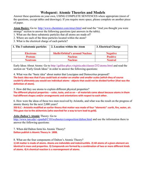 Atomic Theory Worksheet Answers by 100 Atomic Theory Worksheet Chapter 2 Atomic