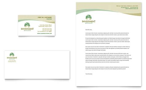 investment management business card letterhead template