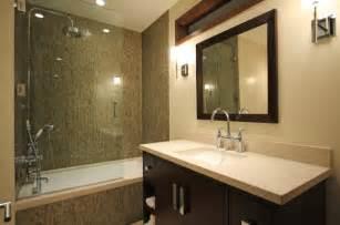 glass doors small bathroom:  modern bath that combines shower and the bathtub behind glass doors