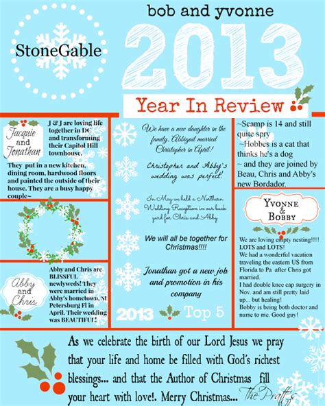 family year in review card template 2013 year in review stonegable