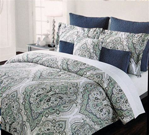 tahari home bedding cotton duvet cover set with teal mint