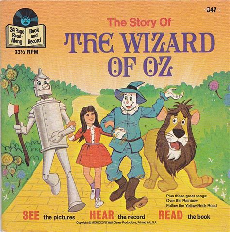 the wizard of oz picture book 25 forgotten walt disney read along book and records