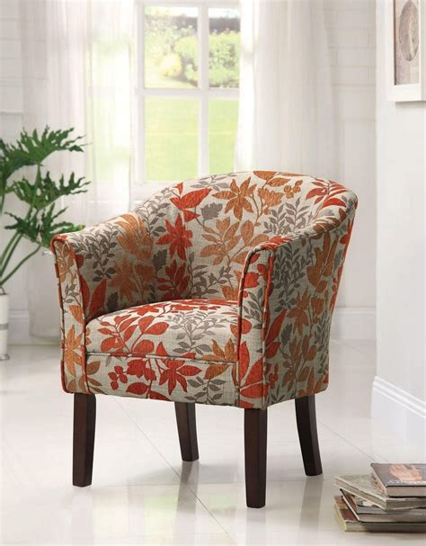 amazoncom coaster  floral barrel  accent chair upholstered accent chairs accent
