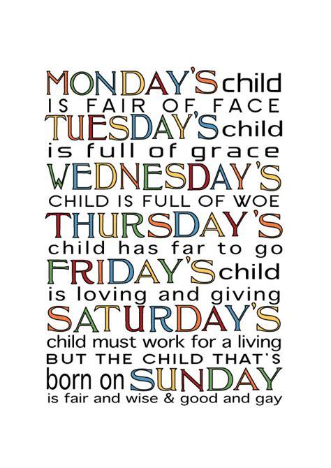 Nursery Art, Monday's child is full of grace   Felt