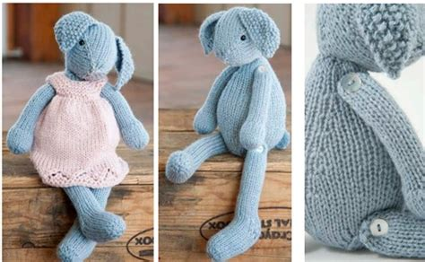free knitting patterns for bunny rabbits knit lizzie rabbit and dress free knitting pattern