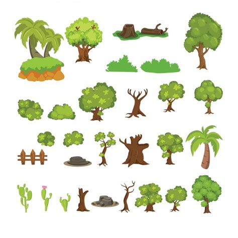 vector tree free beautiful cactus and trees collection vector free
