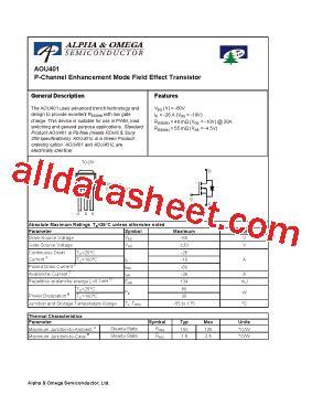 diodes inc bss84 aou401l datasheet pdf alpha omega semiconductors