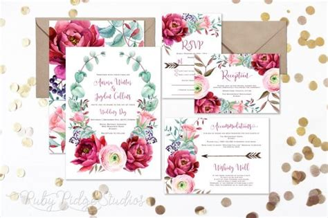 stylish printables watercolor clipart wedding stationery burgundy blush watercolor floral wedding invitation peony