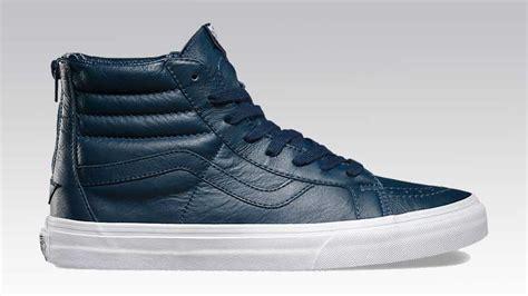 Sepatu Vans Sk8 Hi Premium vans premium leather sk8 hi reissue zip blue soleracks