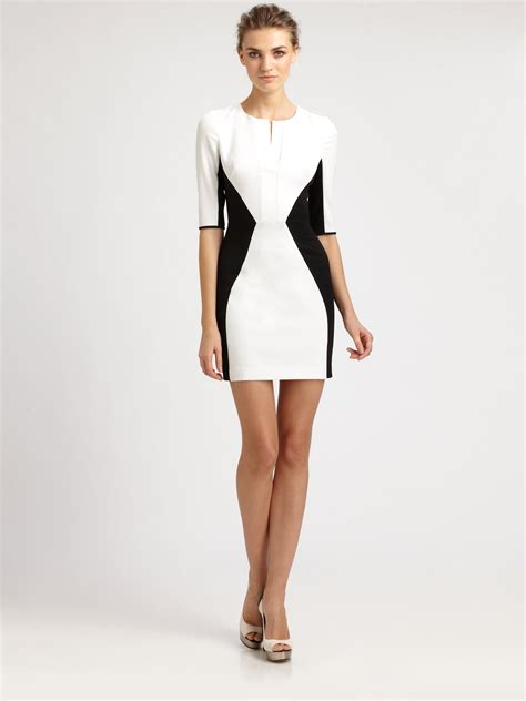 color block dresses black halo colorblock dress in white lyst