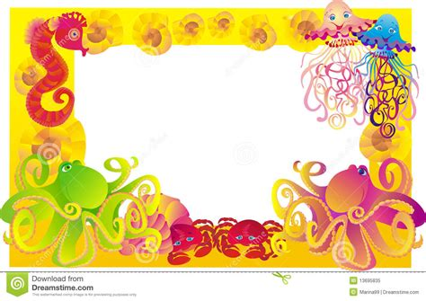 Foto Vector marco mar para la foto con los animales de mar vector