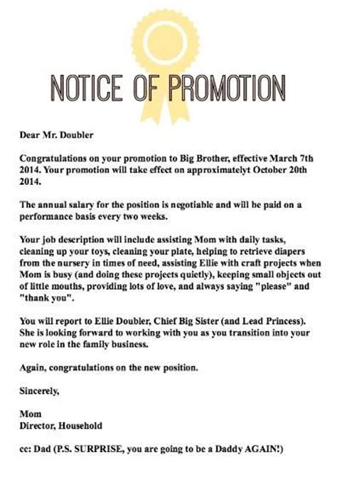 Promotion Notification Letter Letter Of Promotion To Big Baby Grandparents And Pregnancy