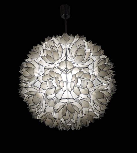 Lotus Capiz Chandelier Large Capiz Shell Pendant Light Lotus 1960s For Sale