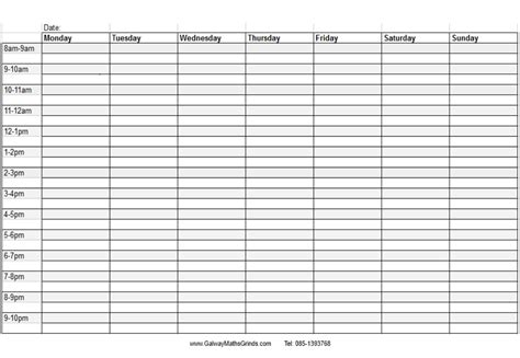 printable schedule with times time table templates galway maths grinds