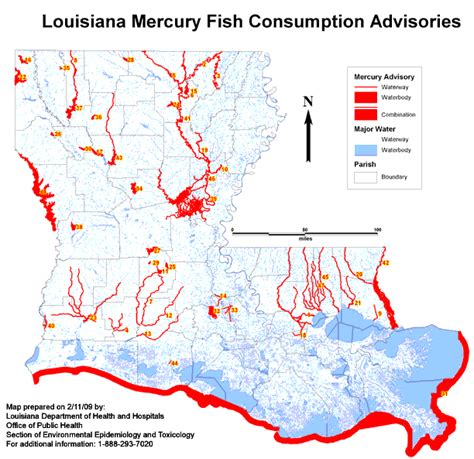 louisiana map index health fish consumption advisories program mercury