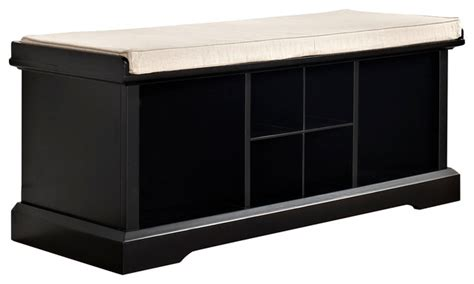 Black Entryway Storage Bench brennan entryway storage bench black traditional accent storage benches by pot racks plus