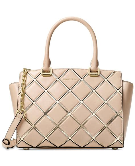 Michael Kors Selma Medium Satchel Pale Gold michael kors michael selma medium top zip oyster pale