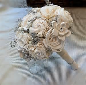Handmade Bouquets - handmade wedding bouquet small ivory silver bridal bouquet