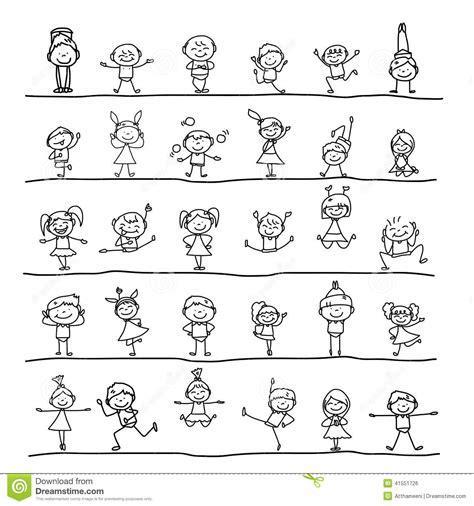 hand drawing cartoon character happy kids stock vector