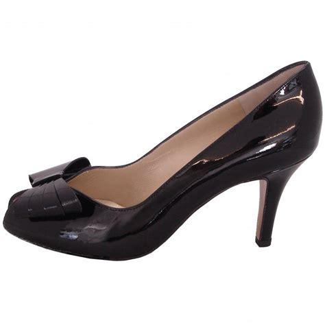 kaiser stella black patent peep toe court shoes