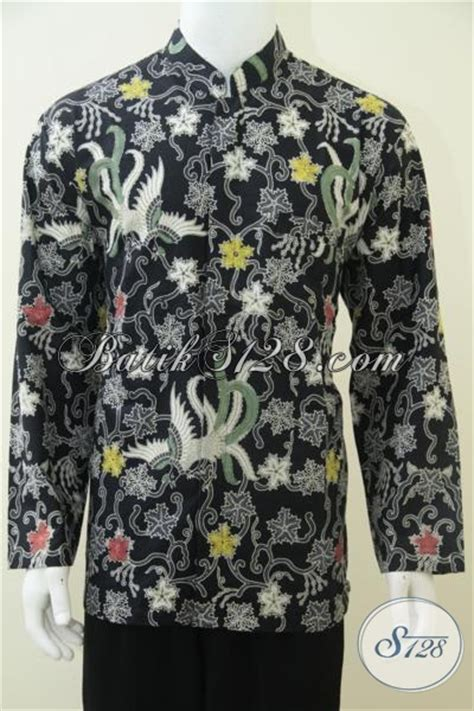 Koko Batik Elegan Mickot Hitam batik koko warna hitam elegan kerah shanghai lengan