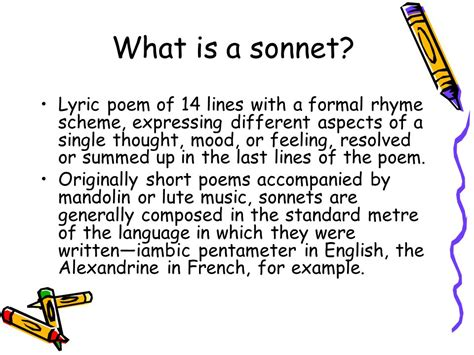rhyme pattern in french what is a sonnet lyric poem of 14 lines with a formal