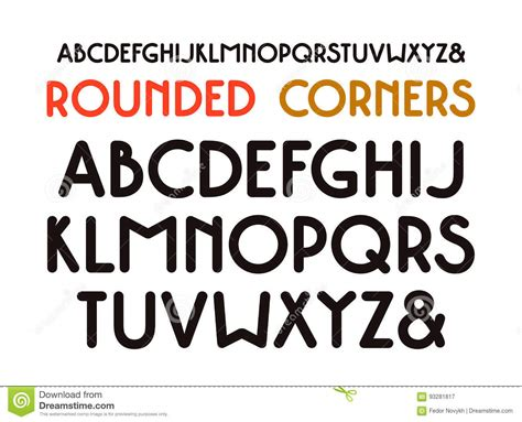 Decorative Serif Font by Decorative Sans Serif Font With Rounded Corners Stock