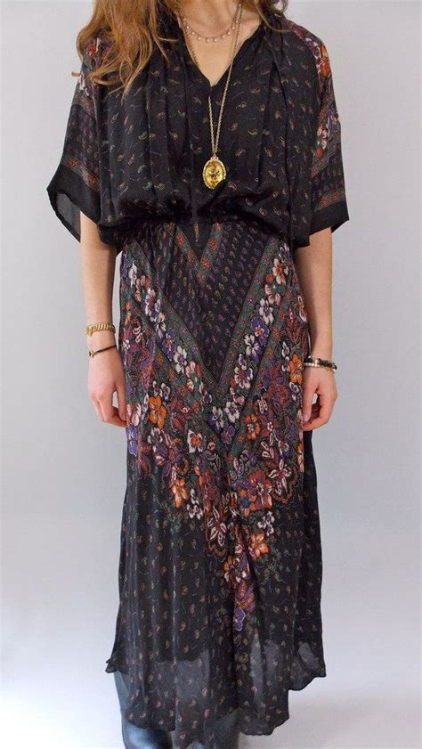 Maxi Bohemian Dress Alia Black vintage 1970s black bohemian maxi dress 70s dress