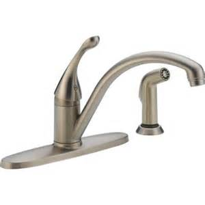 delta collins single handle standard kitchen faucet with side sprayer in stainless 440 sswe dst