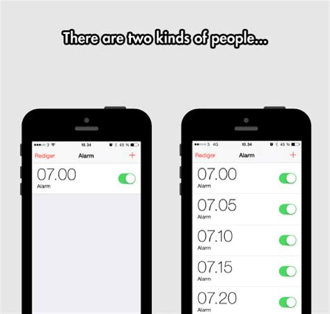 Iphone Alarm Meme - two kinds of people in the morning funny pictures
