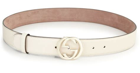 Gucci Leather G White gucci interlocking g leather belt in white lyst