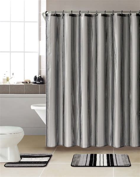 Cheap Bathroom Shower Curtain Sets Buy 3 Bath Rug Set W Shower Curtain And Matching Rings Grey Black In Cheap Price On