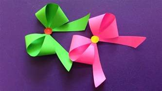 How To Make A Bow With Paper Ribbon - how to make a paper bow ribbon easy origami bow ribbons