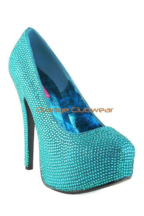 turquoise high heels shoes bordello turquoise satin rhinestone covered platform