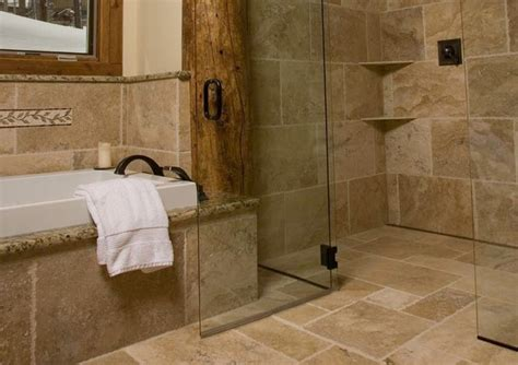 rustic bathroom tile continuous floor tile in rustic shower modern