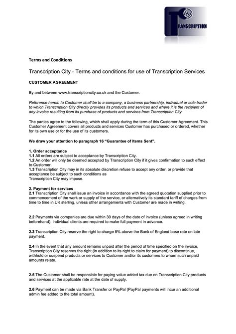 terms and conditions terms and conditions transcription city typing services