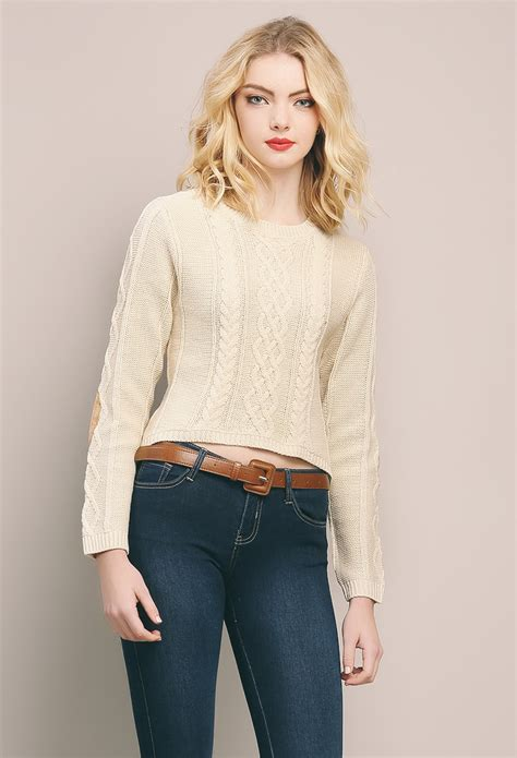 Crop Sweater 1 knit sweater crop top shop sale at papaya clothing