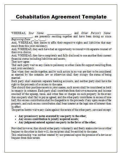 cohabitation contract template cohabitation agreement template free agreement templates