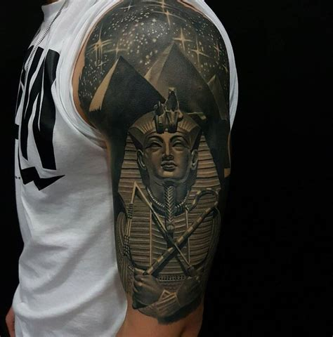 egyptian tattoos for men tutankhamun pyramids half sleeve