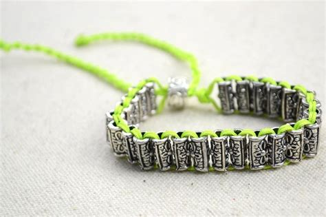 craft jewelry diy beaded bracelet with antique silver colored