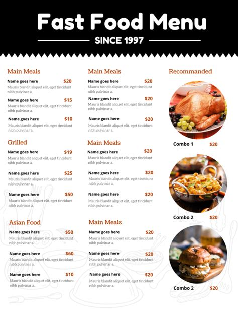 20 Outstanding Restaurant Menu Templates For Food And Drink Business Best Food Templates
