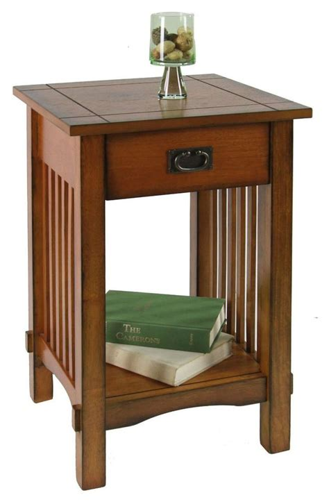 End Table Mission Style Side Tables Drawer Antique Oak
