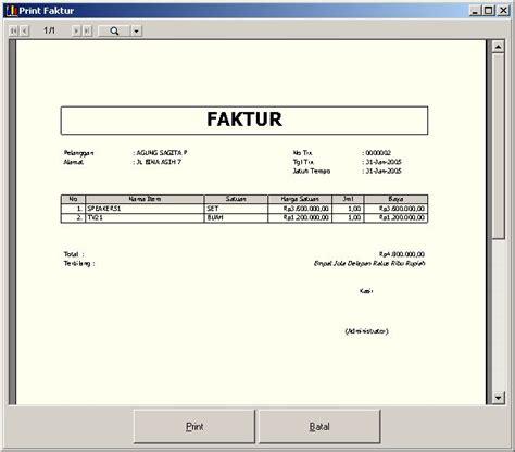 contoh faktur service laptop
