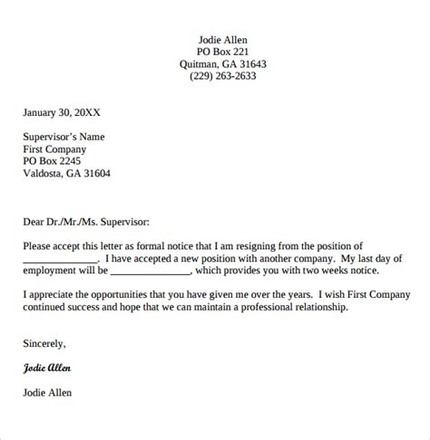 Resignation Letter Email Format by Resignation Email Template 6 Documents In Pdf Word